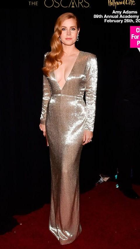 Yay or Nay? Amy Adams wearing a metallic plunging gown at the Oscars night - SeenIt