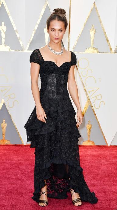 Yay or Nay? Alicia Vikander wearing a black Louis Vuitton dress at the Oscars night - SeenIt