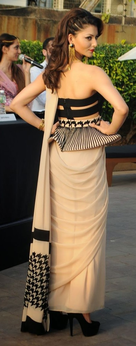 Yay or Nay? Urvashi Rautela in this beige and black saree - SeenIt