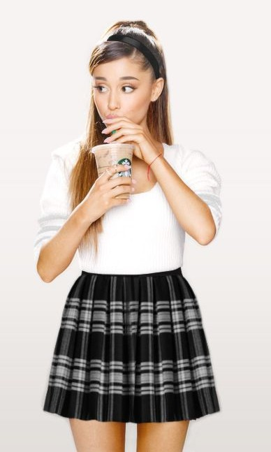 Looking for the similar white plain top and black and white striped skirt that Ariana Grande is wearing - SeenIt