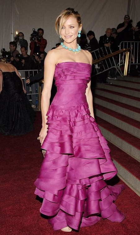 Yay or Nay? Pink ruffle evening gown that Cameron Diaz is wearing - SeenIt