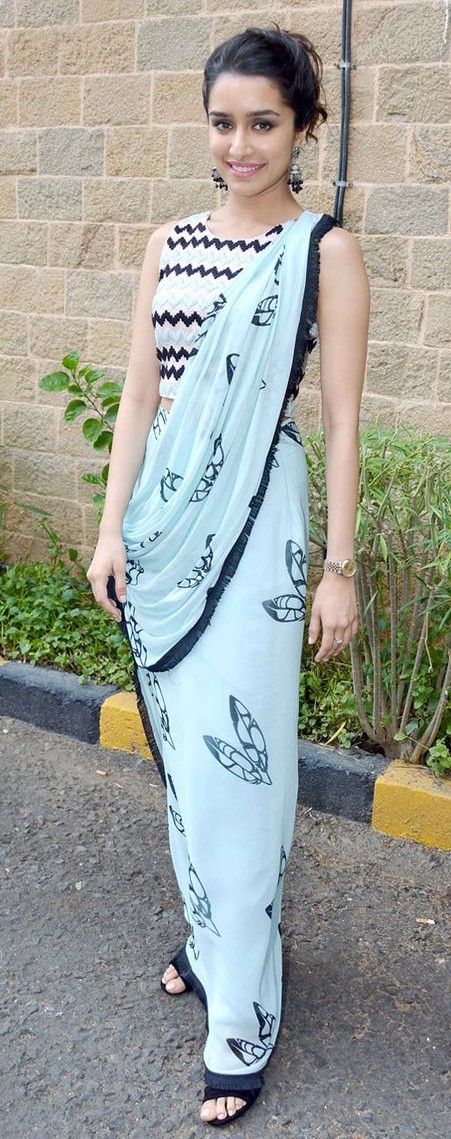 Yay or Nay? Shraddha Kapoor in a light blue saree - SeenIt