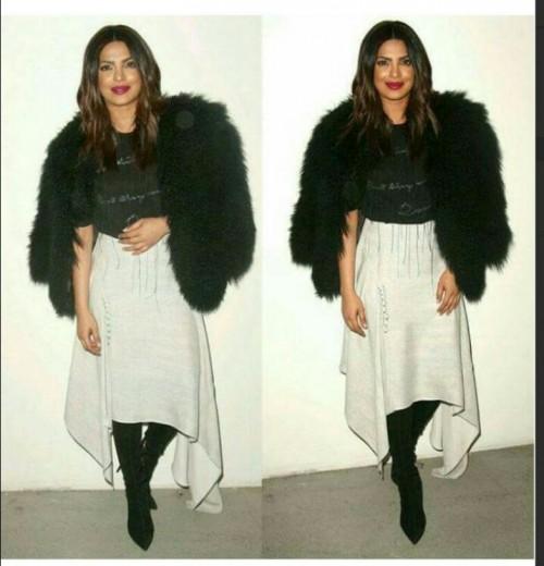 Want the black faux fur coat ,black tshirt, black boots and white asymmetrical skirt that Priyanka Chopra is wearing - SeenIt