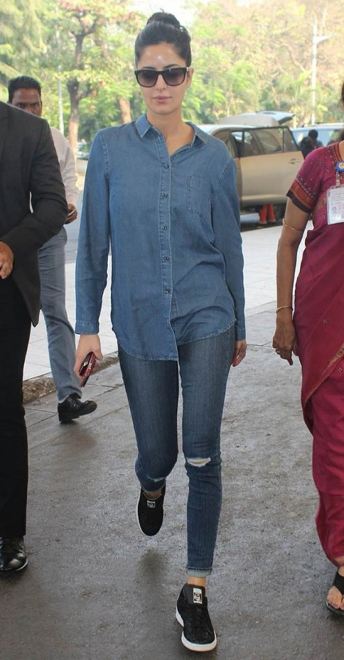 Want this denim look. The blue shirt and jeans with black sneakers that Katrina Kaif is wearing - SeenIt