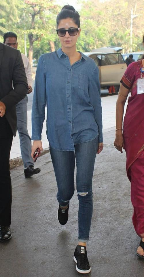 e534dbebb89 Want this denim look. The blue shirt and jeans with black sneakers that Katrina  Kaif