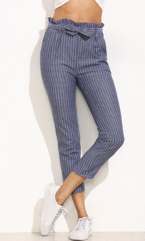 The blue and white striped pants with belt is what I am looking for. - SeenIt