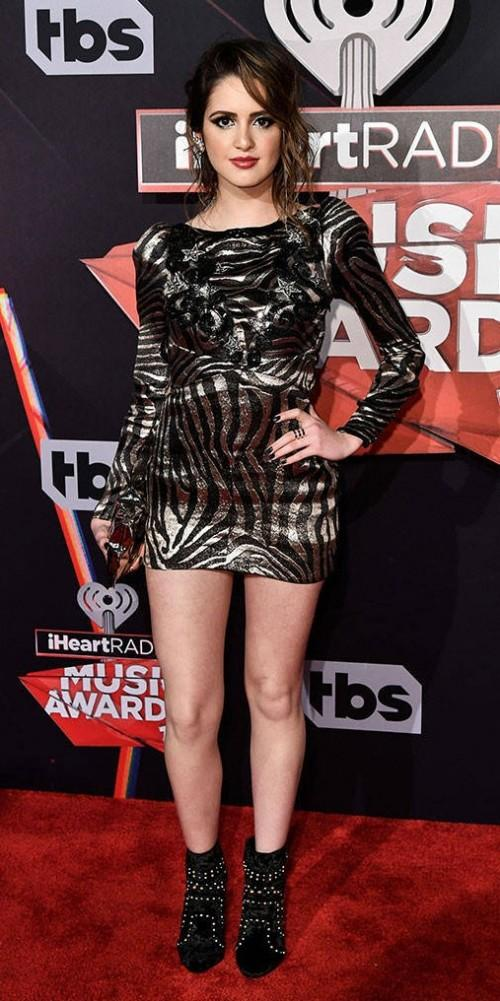 Yay or Nay? Laura Marano wearing a black sequin embellished short dress at the iHeart Radio music awards last night - SeenIt