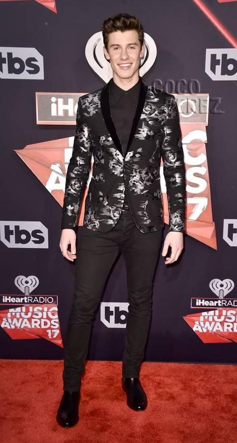 Yay or Nay? Shawn Mendes wearing a floral black blazer  at the iHeart Radio music awards - SeenIt