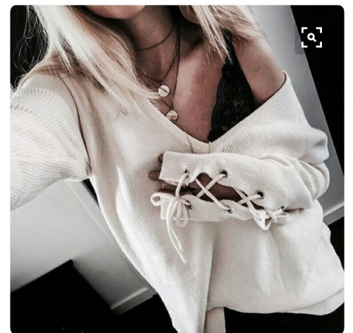 need this cream oversized v neck lace sleeve sweater from indian sites thankyou - SeenIt