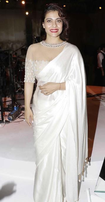 Yay or Nay? Kajol wearing a classic white saree at the Mijwan summer fashion show by Manish Malhotra held in Mumbai last night - SeenIt