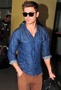 options for blue denim shirts like Zac Efron's one pls - SeenIt