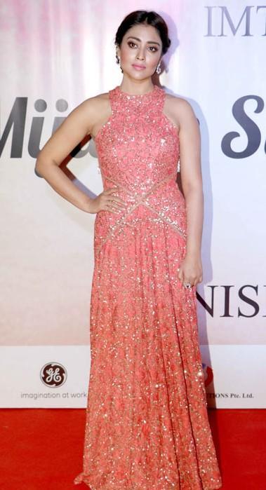 Yay or Nay? Shriya Saran wearing an embellished gown  at the Mijwan summer fashion show by Manish Malhotra - SeenIt