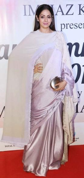 Yay or Nay? Sridevi wearing a satin drape saree at the Mijwan summer fashion show by Manish Malhotra held in Mumbai last night - SeenIt