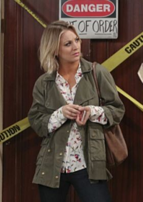 looking for a similar olive green casual jacket like penny is wearing - SeenIt