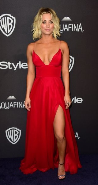 looking for a similar red slitted maxi gown like penny is wearing - SeenIt