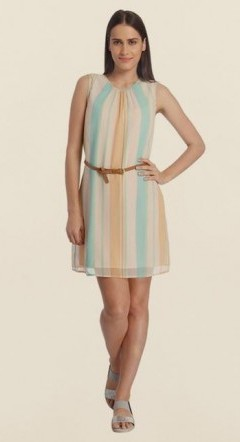 Where can I find this pastel multi color striped sleeveless dress? - SeenIt