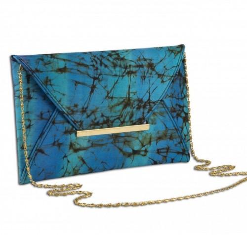 Help me find this blue, black tie and dye envelope clutch. - SeenIt