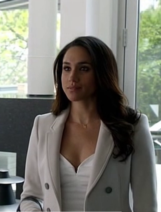 rachel's white double breasted coat is what i am searching for online - SeenIt