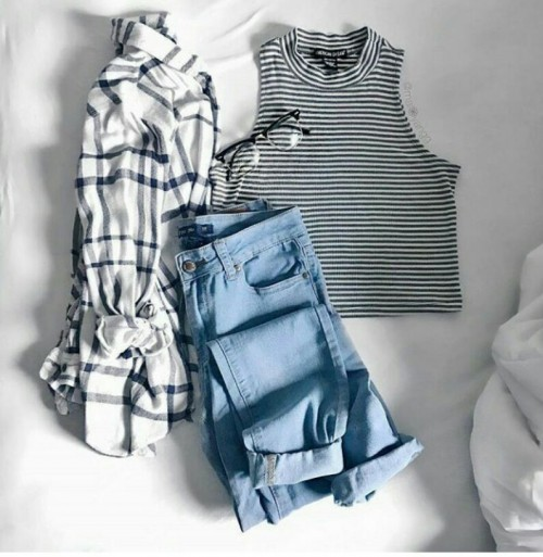 Want the striped tank top, checked shirt and blue denim jeans - SeenIt