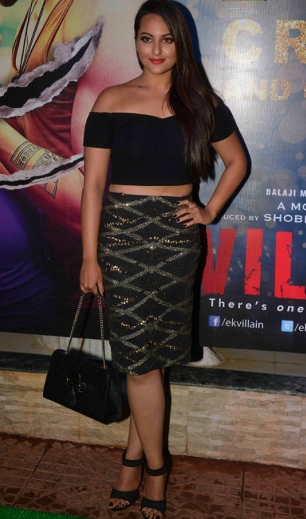 Yay or Nay? Sonakshi Sinha in this black crop top and black with gold print pencil skirt - SeenIt