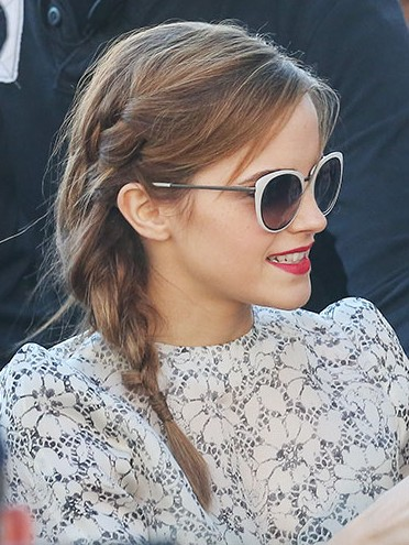 Want similar white sunglasses that Emma Watson is wearing - SeenIt