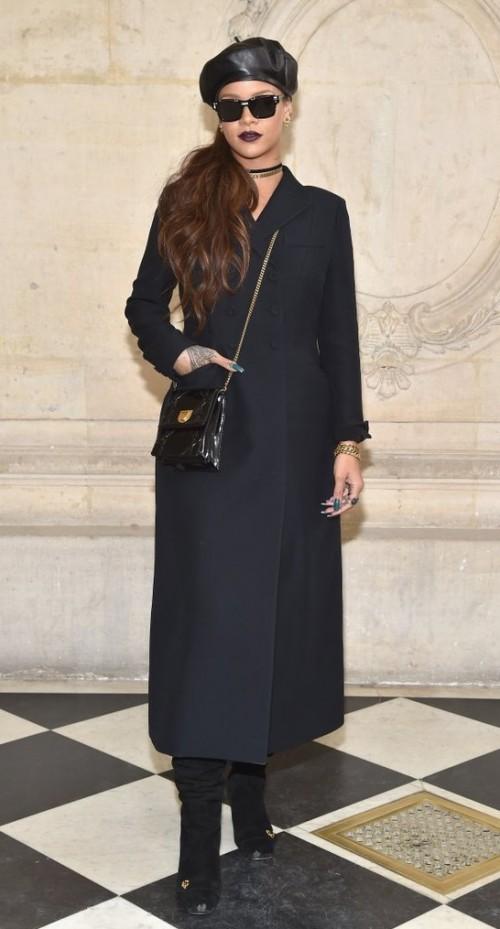Yay or Nay? Rihanna wearing a full length black coat at Christian Dior's show during the Paris fashion week - SeenIt