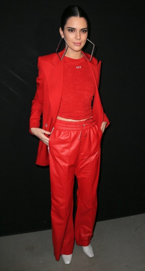 Yay or Nay? Kendall Jenner wearing a red blazer outfit with huge square hoops at Off-White during Paris fashion week - SeenIt