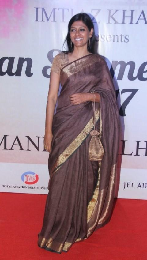 Yay or Nay? Nandita Das wearing a brown silk saree at the Mijwan fashion show by Manish Malhotra - SeenIt