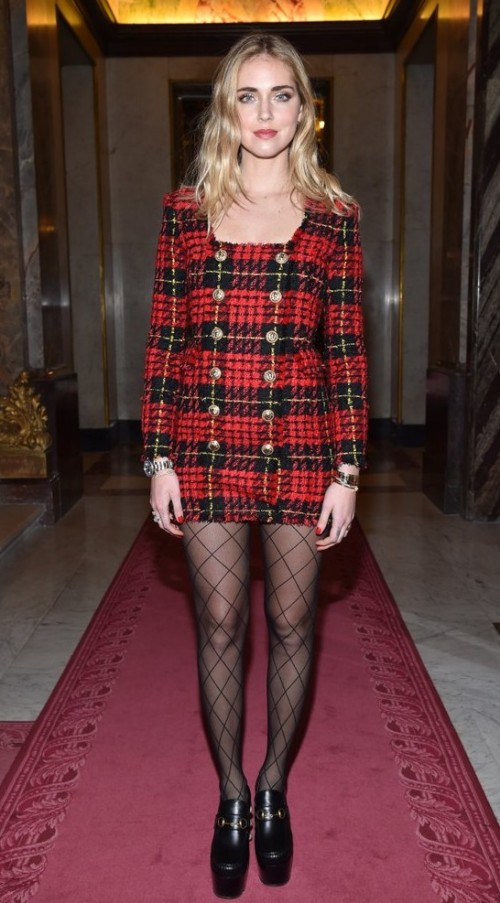 Yay or Nay? Chiara Ferragni wearing a red plaid short dress at the Chloe show during Paris fashion week - SeenIt