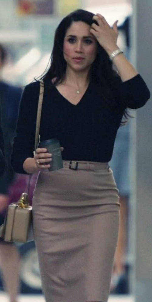 want a similar black pullover and beige pencil skirt like rachel zane wore in suits - SeenIt