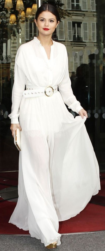 Yay or Nay? Selena Gomez in this white maxi dress - SeenIt
