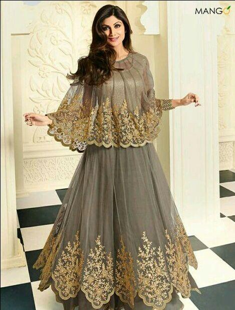 Want this grey and godlen embroidered cape lehenga outfit - SeenIt
