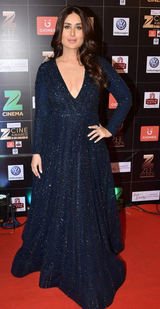 Yay or Nay? Kareena Kapoor wearing a shimmery black Falguni & Shane Peacock outfit , styled by celebrity stylist , Tanya Ghavri at the Zee Cine awards 2017 - SeenIt