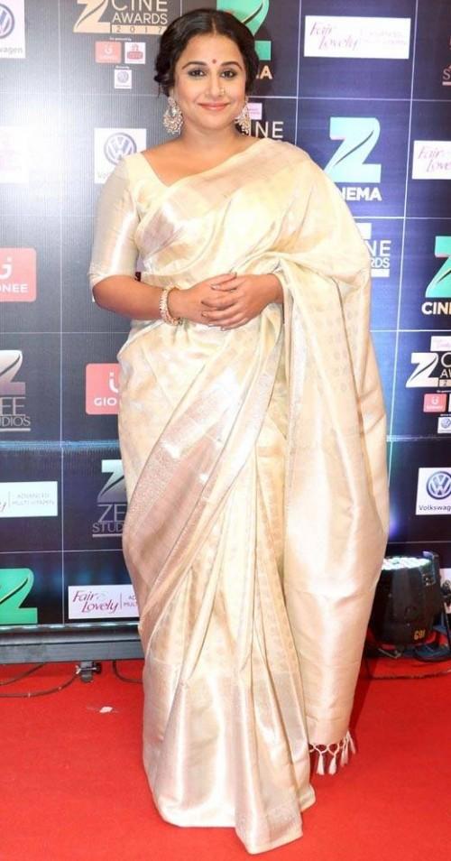 Yay or Nay? Vidya Balan wearing a white silk saree at the red carpet , Zee cine awards 2017 - SeenIt