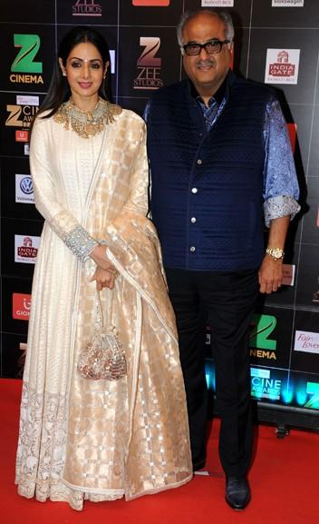 Yay or Nay? Sridevi wearing a white and golden embroidered anarkali suit at the red carpet , Zee cine awards 2017 - SeenIt