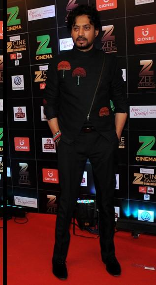 Yay or Nay? Irfan Khan wearing an umbrella print blazer with trousers outfit at the Zee Cine awards 2017 - SeenIt