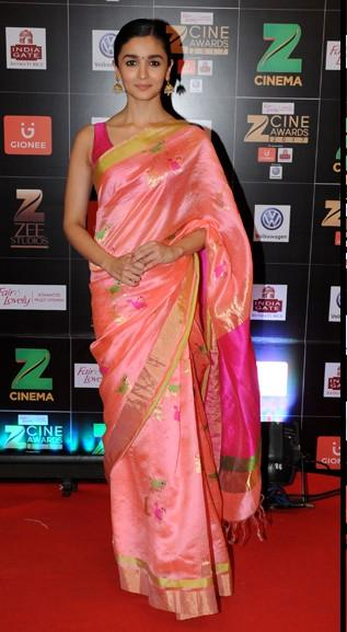 Yay or Nay? Alia Bhatt wearing a pink saree at the Zee Cine awards red carpet 2017 - SeenIt