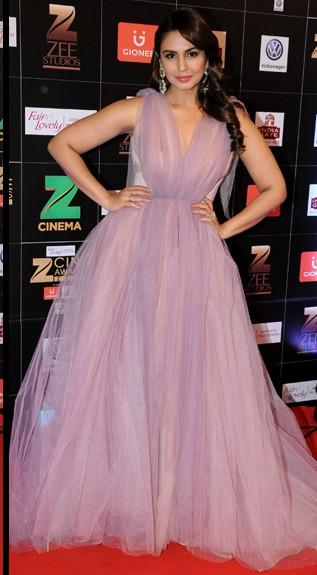 Yay or Nay? Huma Qureshi wearing a purple tulle ball gown at the Zee Cine awards red carpet 2017 - SeenIt