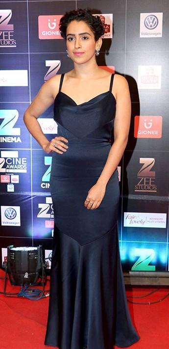 Yay or Nay? Sanya Malhotra wearing a black spaghetti Theia gown at the Zee Cine awards - SeenIt
