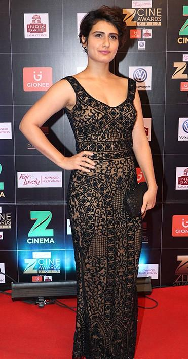 Yay or Nay? Fatima Sana Sheikh wearing a nude colored  gown with black embroidery at the Zee Cine awards 2017 - SeenIt