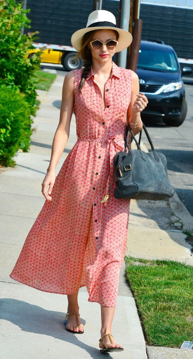 Yay or Nay? Miranda Kerr in this white and red printed front button maxi dress - SeenIt