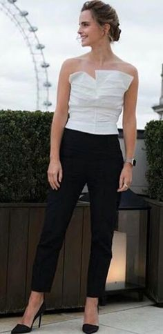 Yay or Nay? This black and white jumpsuit that Emma Watson is wearing - SeenIt