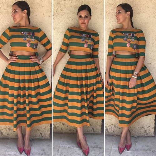 Yay or Nay? Neha Dhupia in this yellow and green bold stripes crop top and skirt set - SeenIt