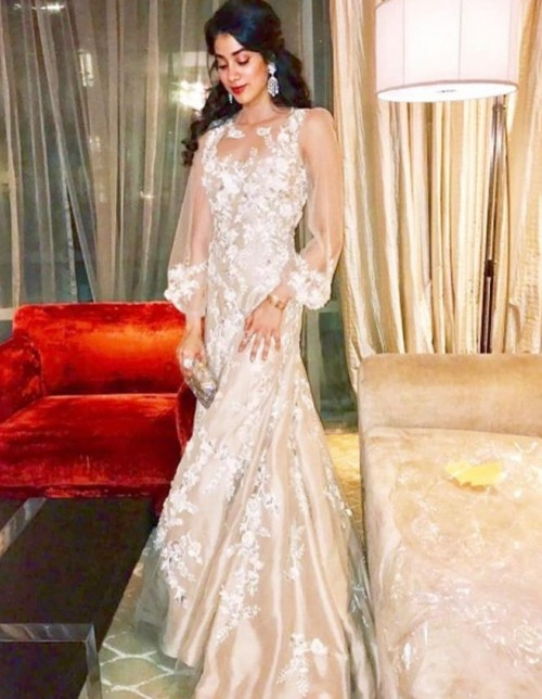 Yay or Nay? Jhanvi Kapoor in this beige and white floral maxi dress - SeenIt