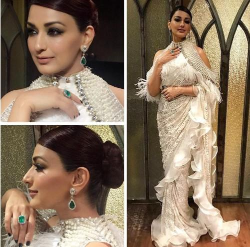 Yay or Nay? Sonali Bendre wearing a cold shoulder ruffled saree at Zee Cine awards 2017 - SeenIt