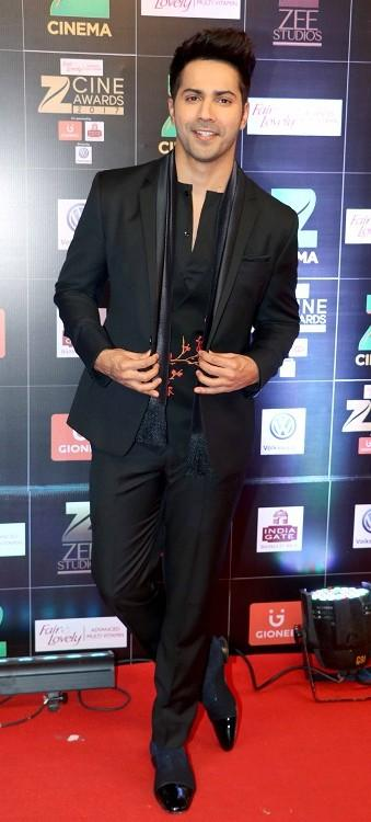 Yay or Nay? Varun Dhawan wearing a black outfit at the Zee Cine awards held in Jio garden , Mumbai - SeenIt