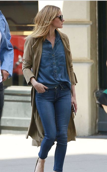 Want the a similar brown trench coat, denim blue shirt and blue jeans that Olivia Palermo is wearing - SeenIt