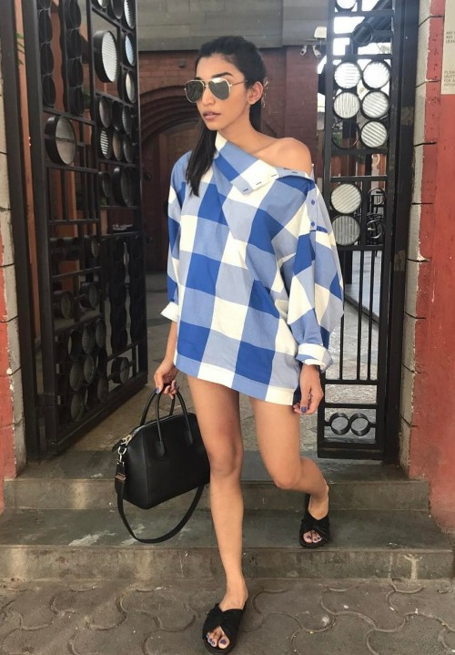 Yay or Nay? Juhi Godambe in a blue and white checkered mini dress paired with black sandals, aviators and top handled bag. - SeenIt