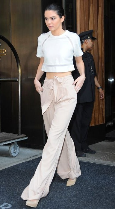 Looking for the white crop top and the beige pants that Kendall Jenner is wearing - SeenIt