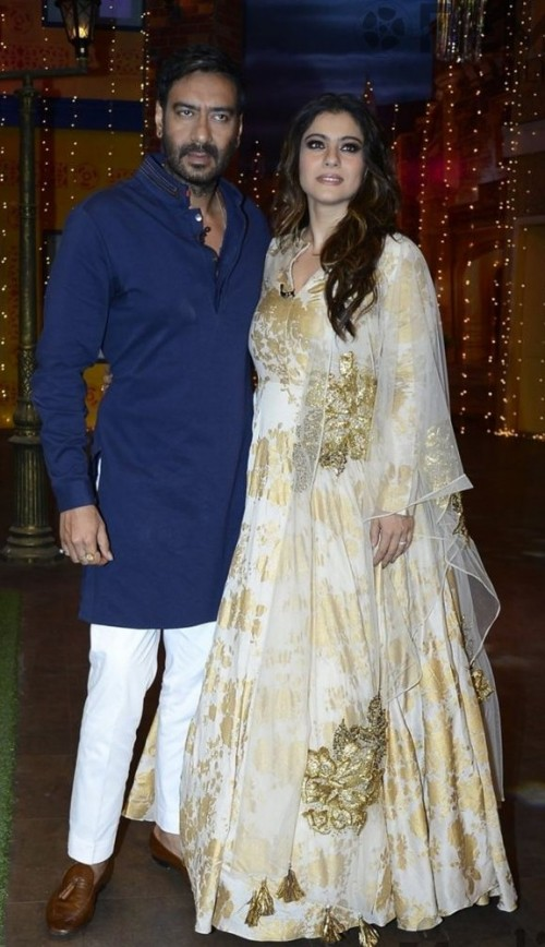 Looking for this white and gold anarkali that Kajol was wearing during the promotion of the movie Shivaay - SeenIt